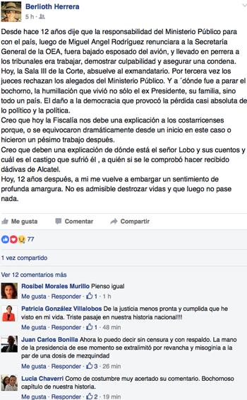 Comentario en FB de la periodista Berlioth Herrera.
